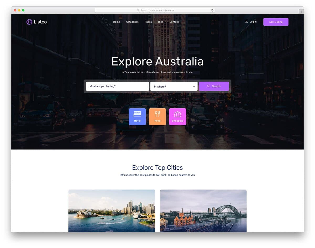 free directory website template with a beautiful design
