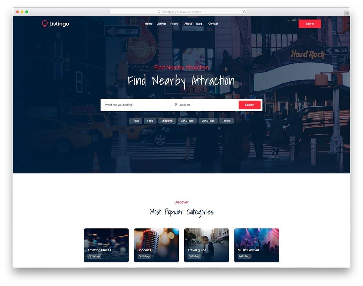 location-based directory website templates
