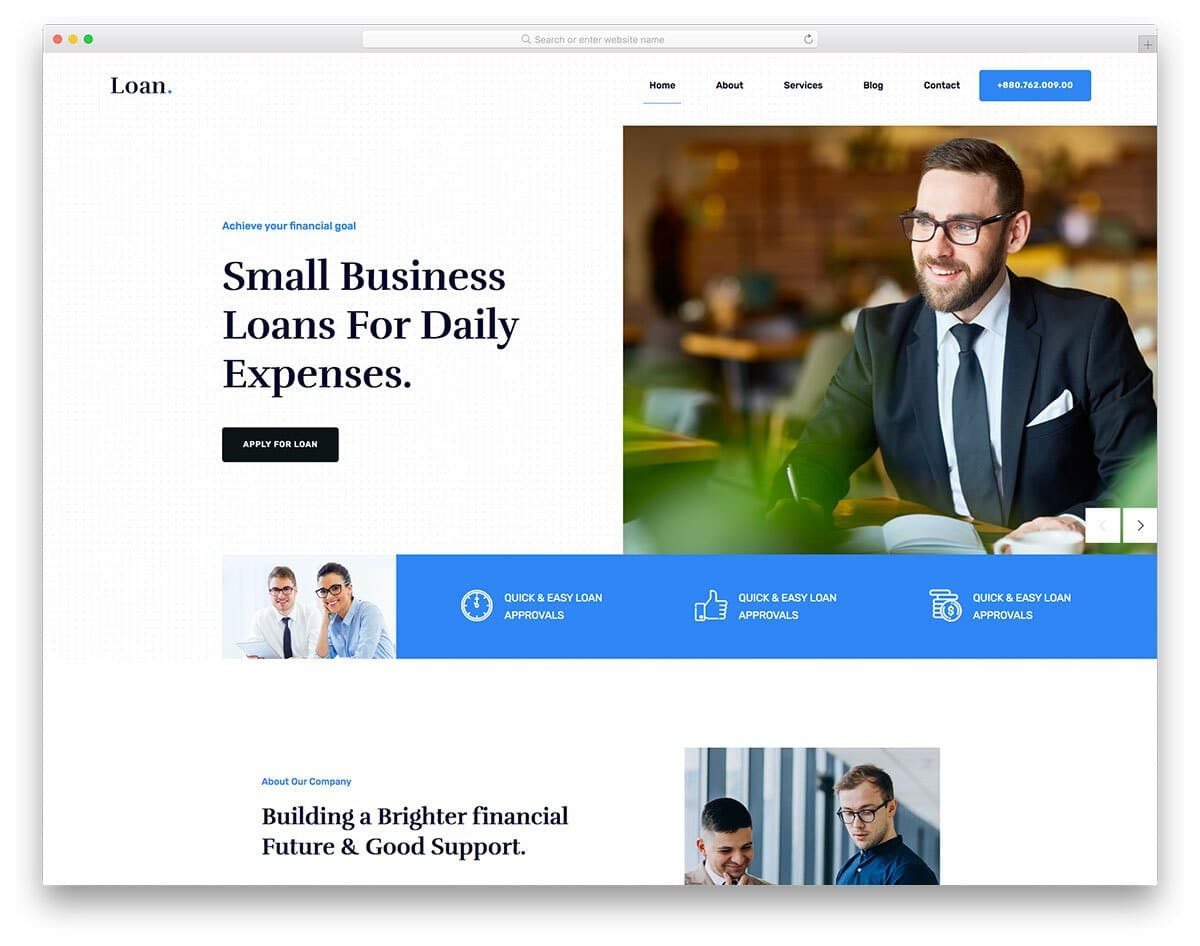 clean business loan and bank website template
