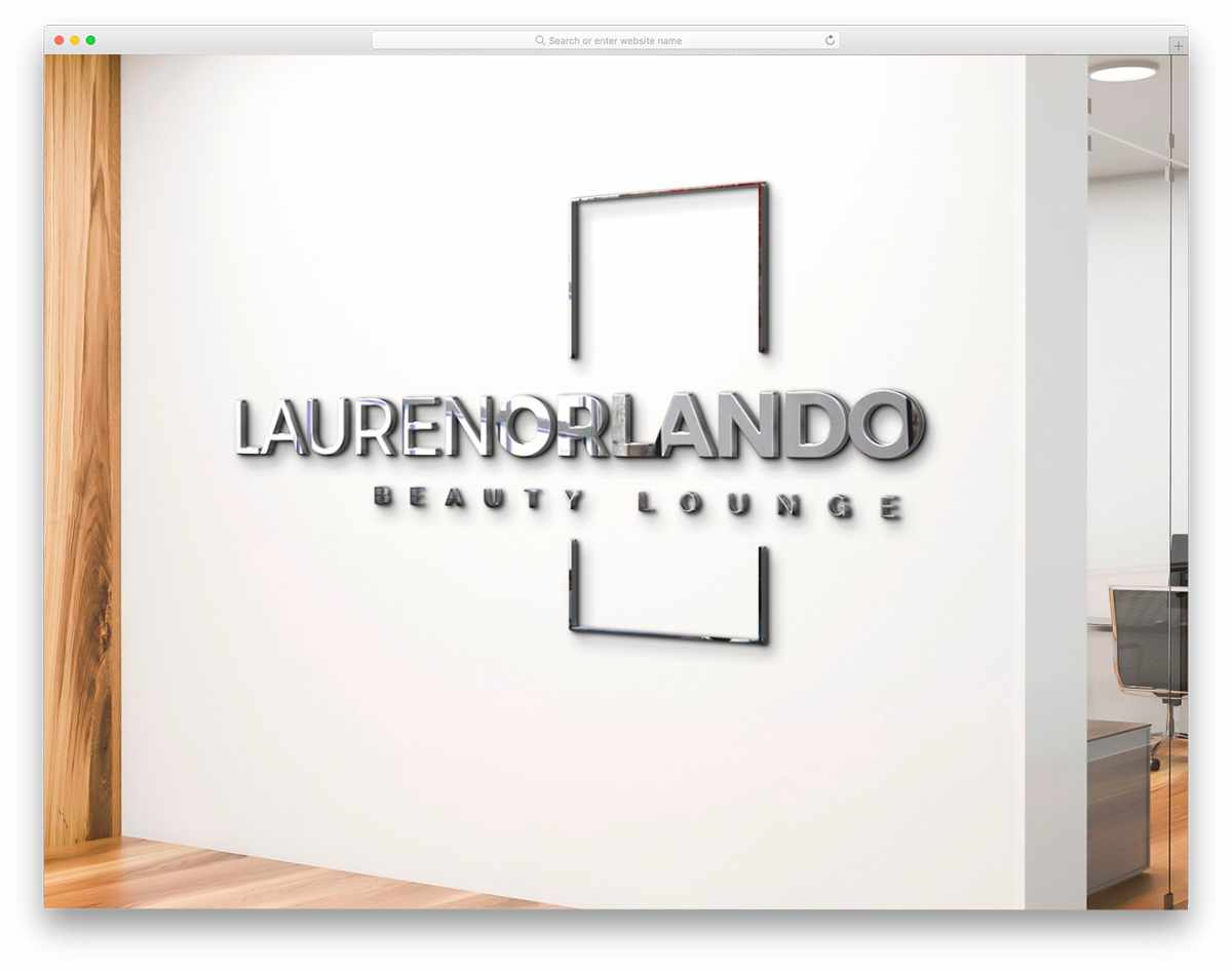 3d sign mockup on office wall