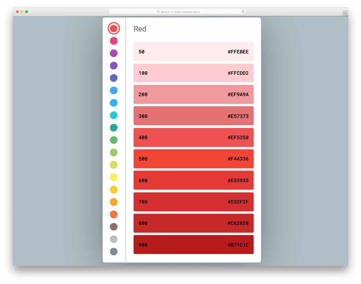 material color palette design concept