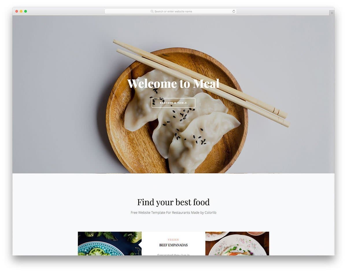 single page restaurant website template