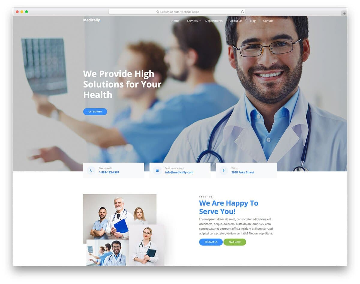 clean and professional medical website template