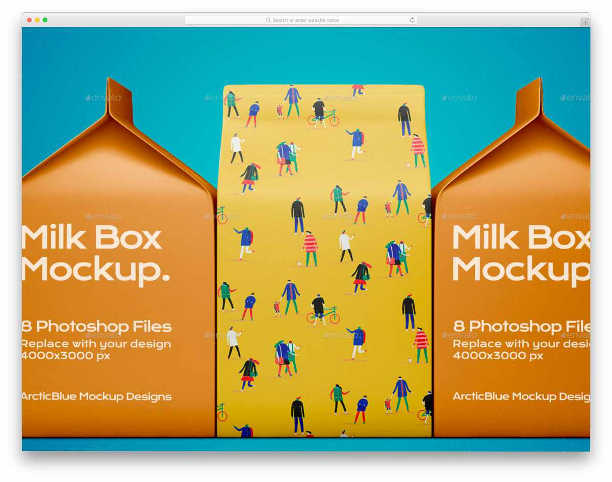 milk box packaging mockup