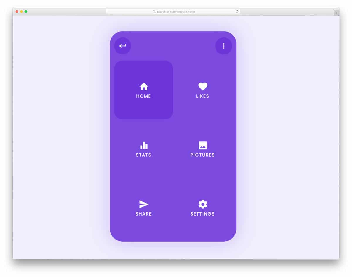 mobile menu interaction animations