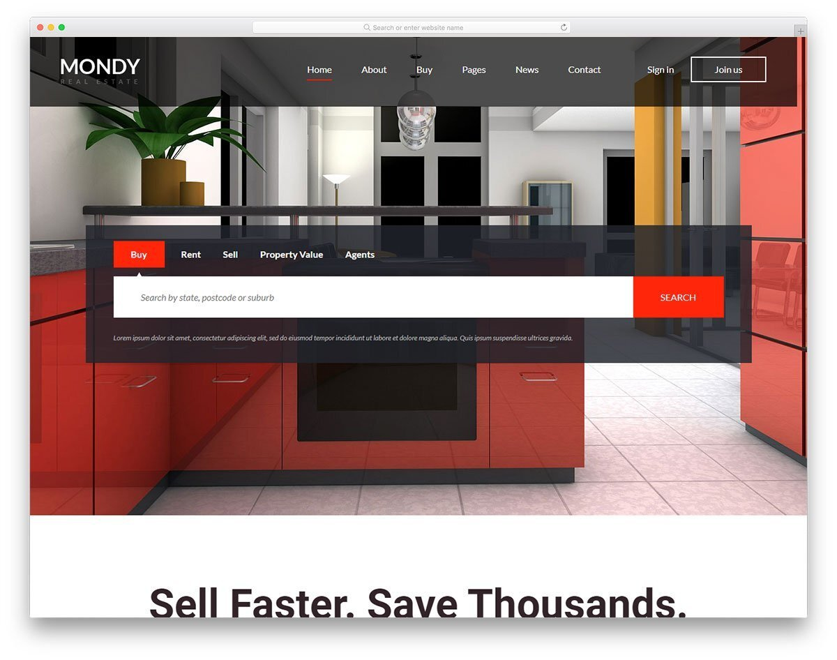 property listing website template
