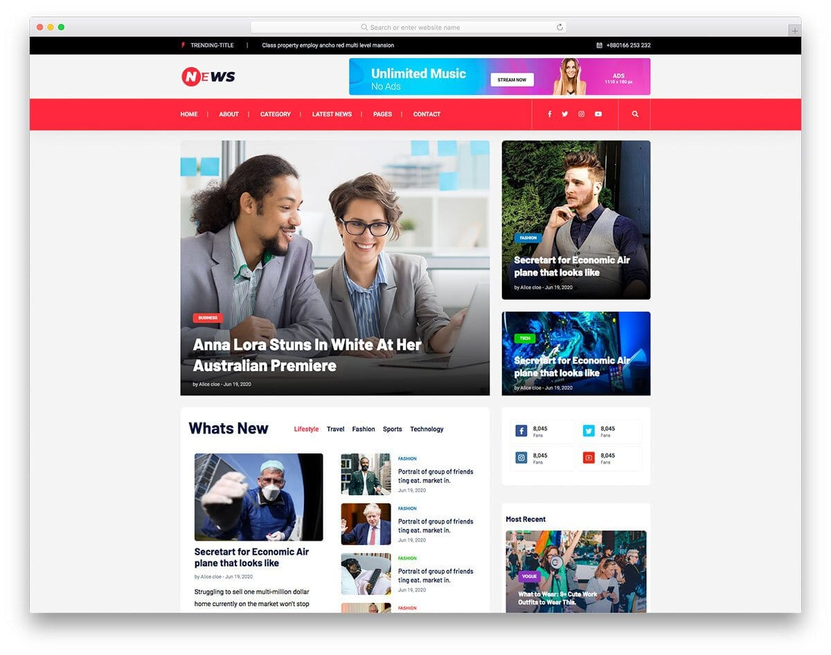 news and magazine website template