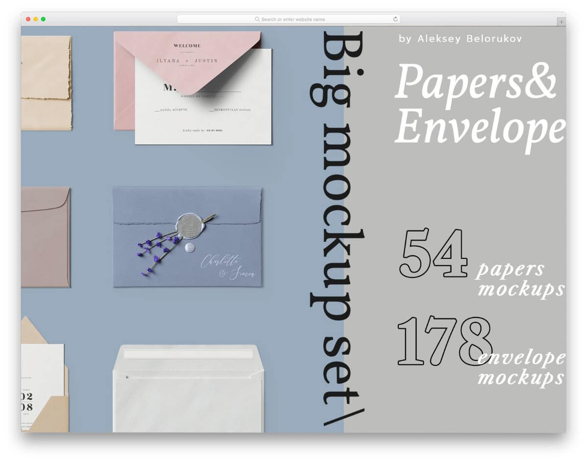 all types of envelope and paper mockup set