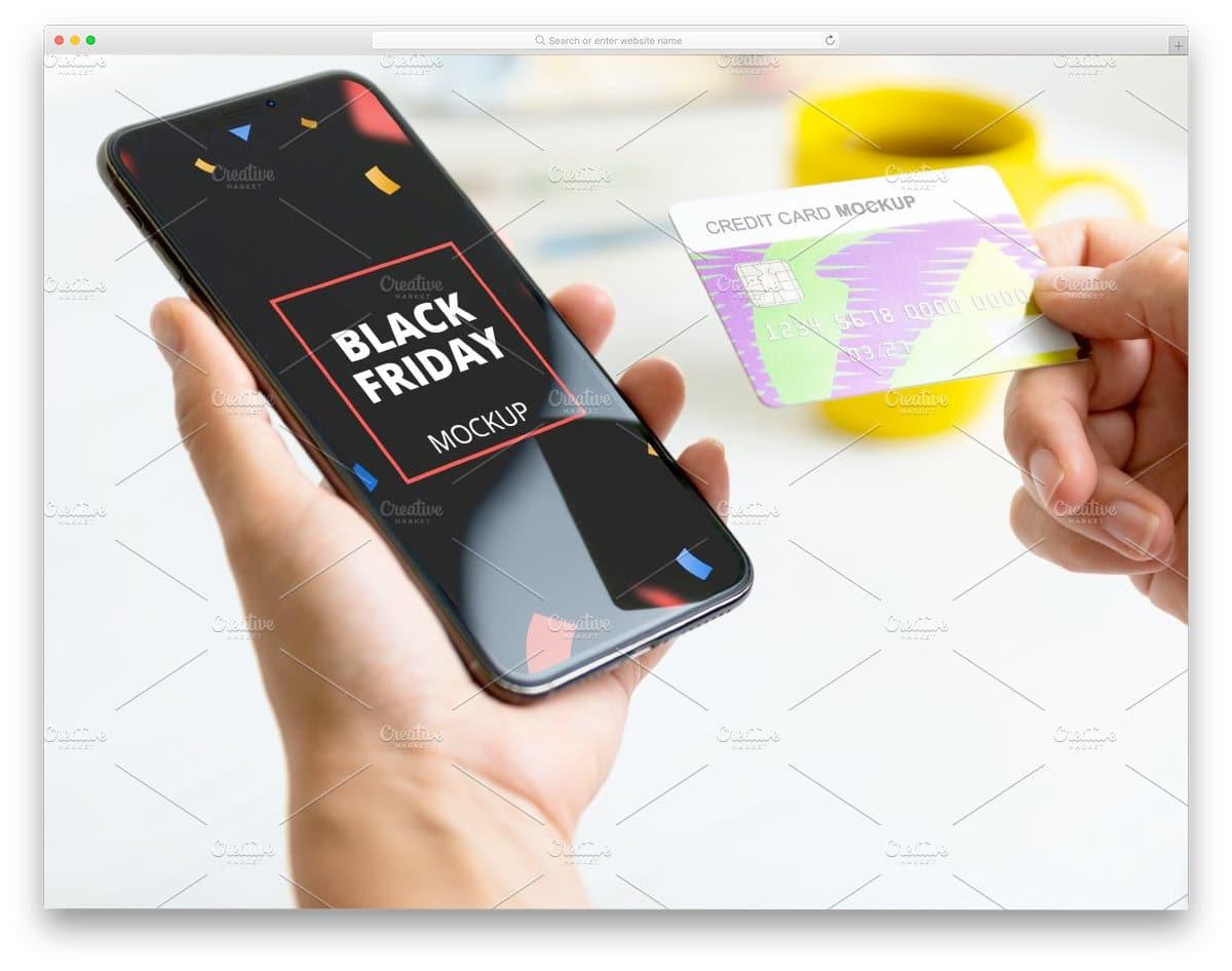 iPhone and credit card mockup