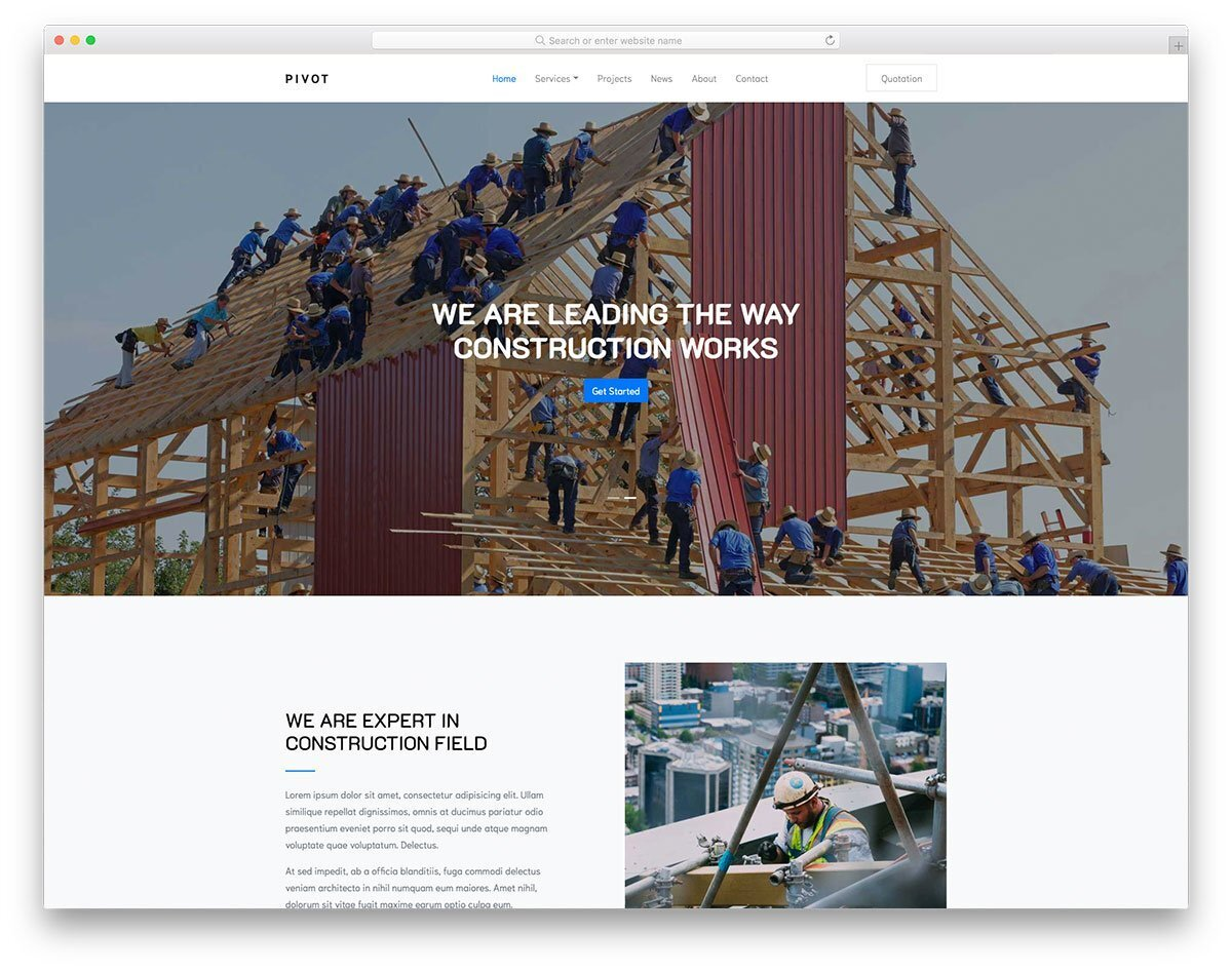 clean corporate-style construction website template