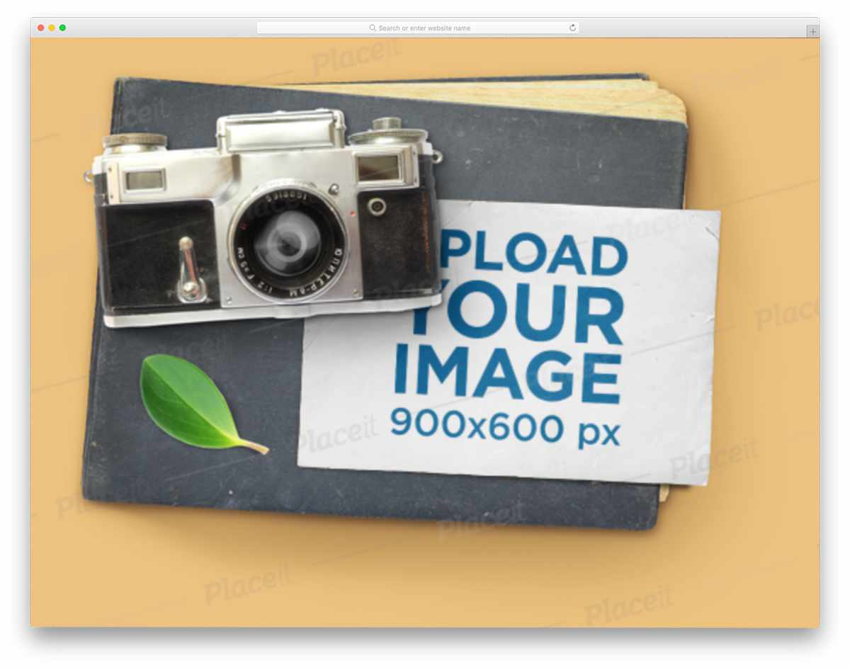 postcard under a camera mockup