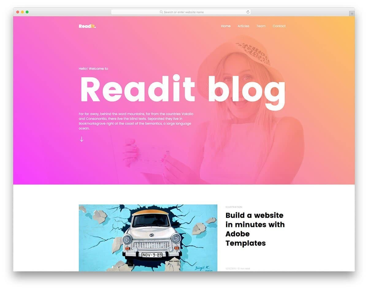 colorful modern blog template