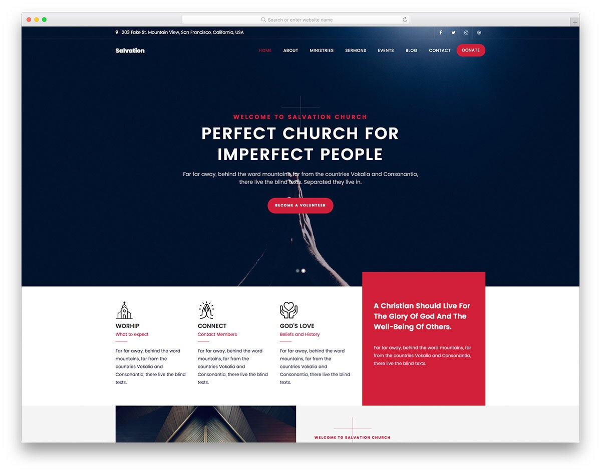 church website template with a sleek design