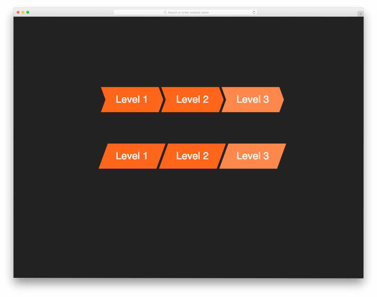 breadcrumb with hover effects