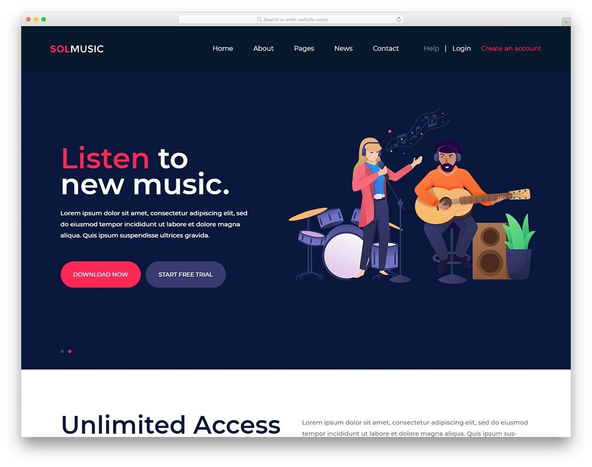 landing page for music websites