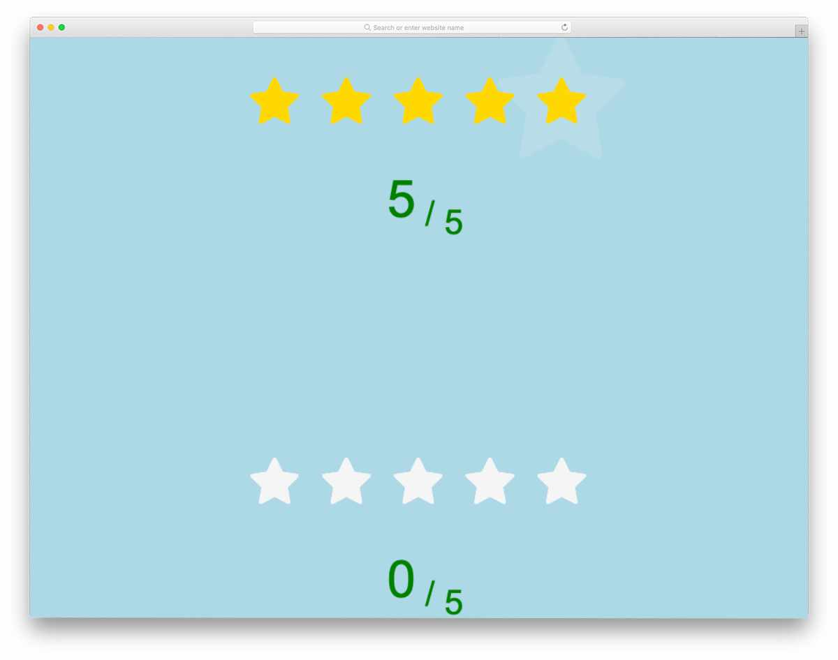 animated star rating