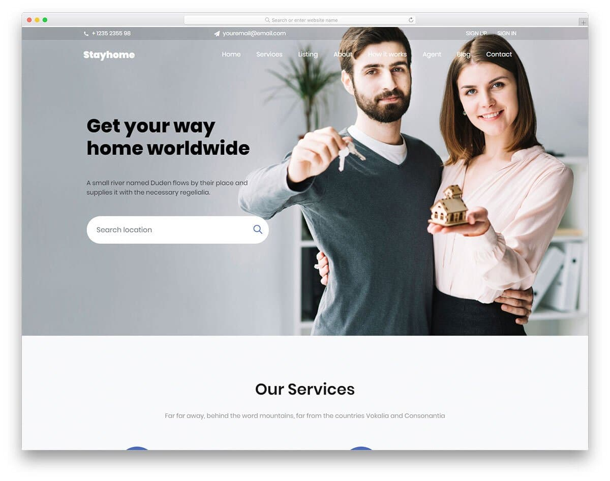 one page free real estate website template