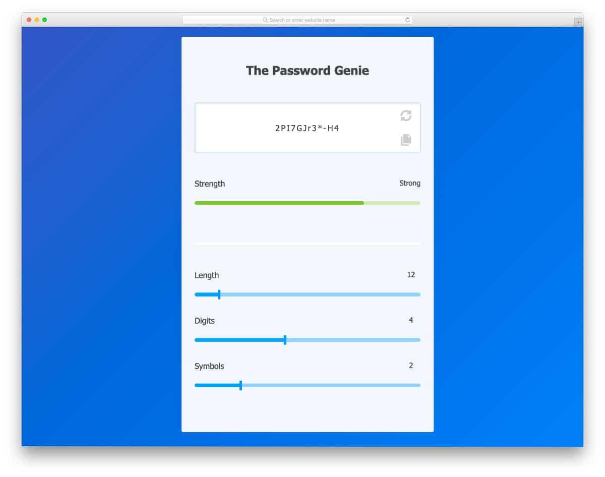 password generator app concept with range sliders