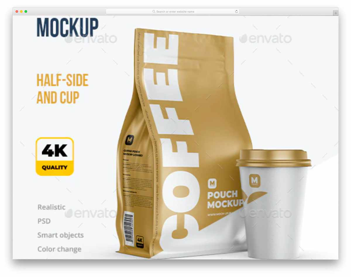 ziplock pack and coffee cup mockup