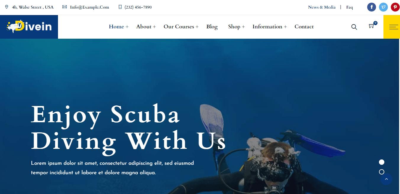 divein-sports-website-template