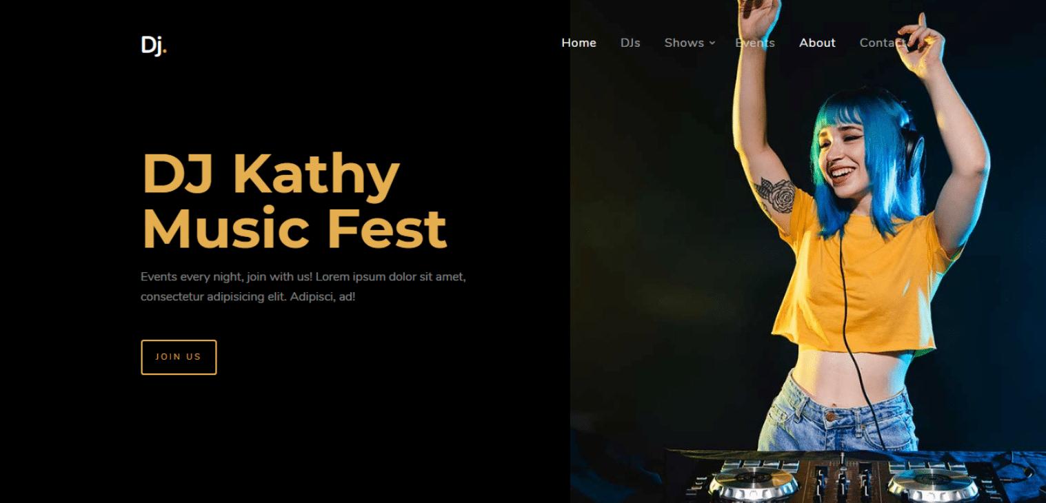 dj-free-music-website-template