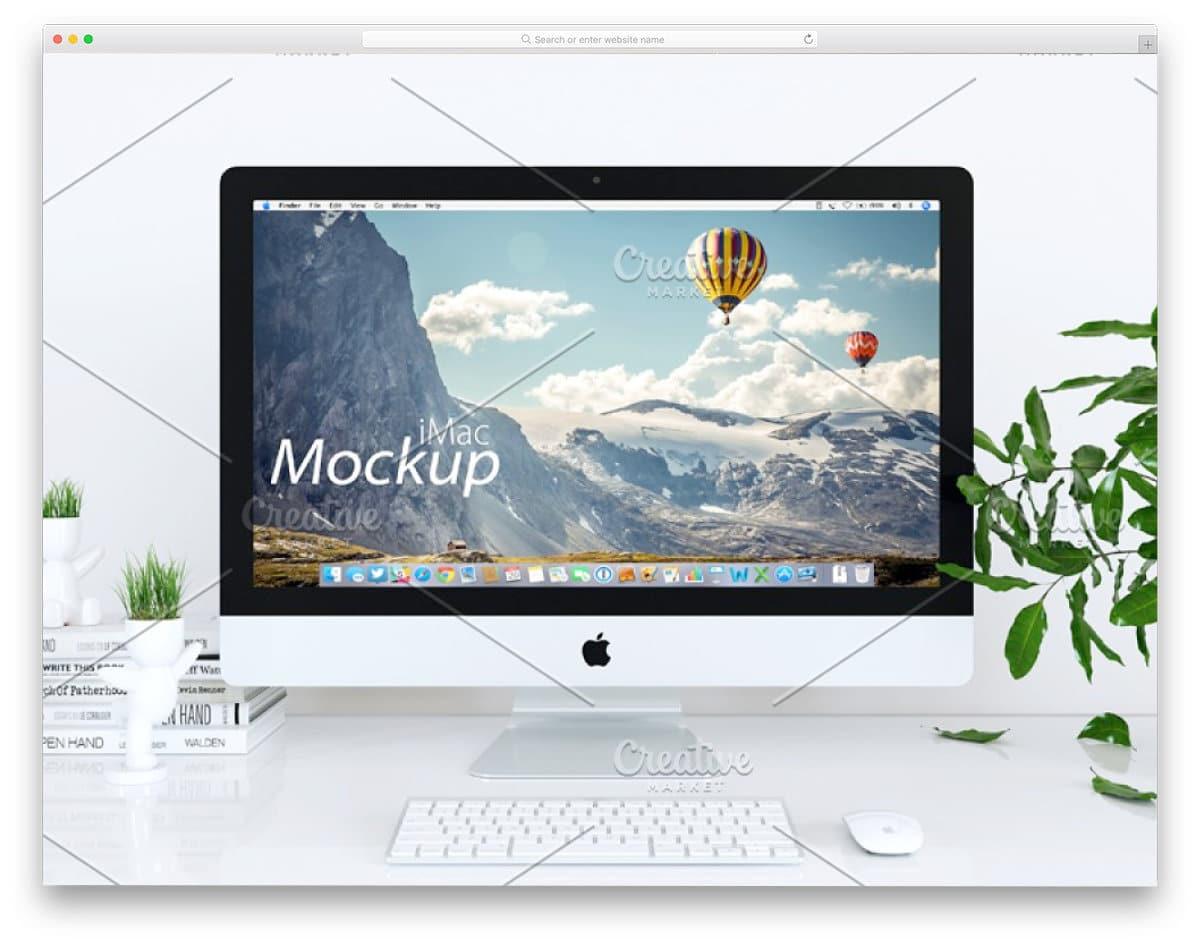 white iMac mockup