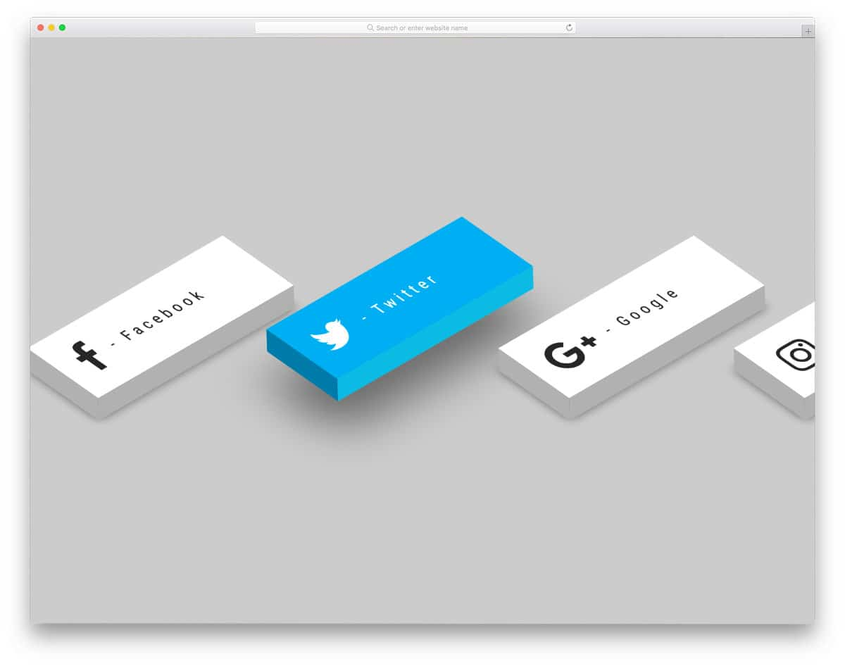 3D social media icon with hover effects