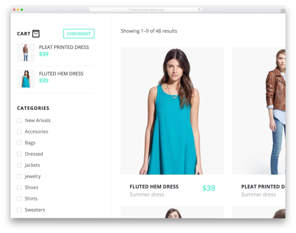 sidebar for online stores