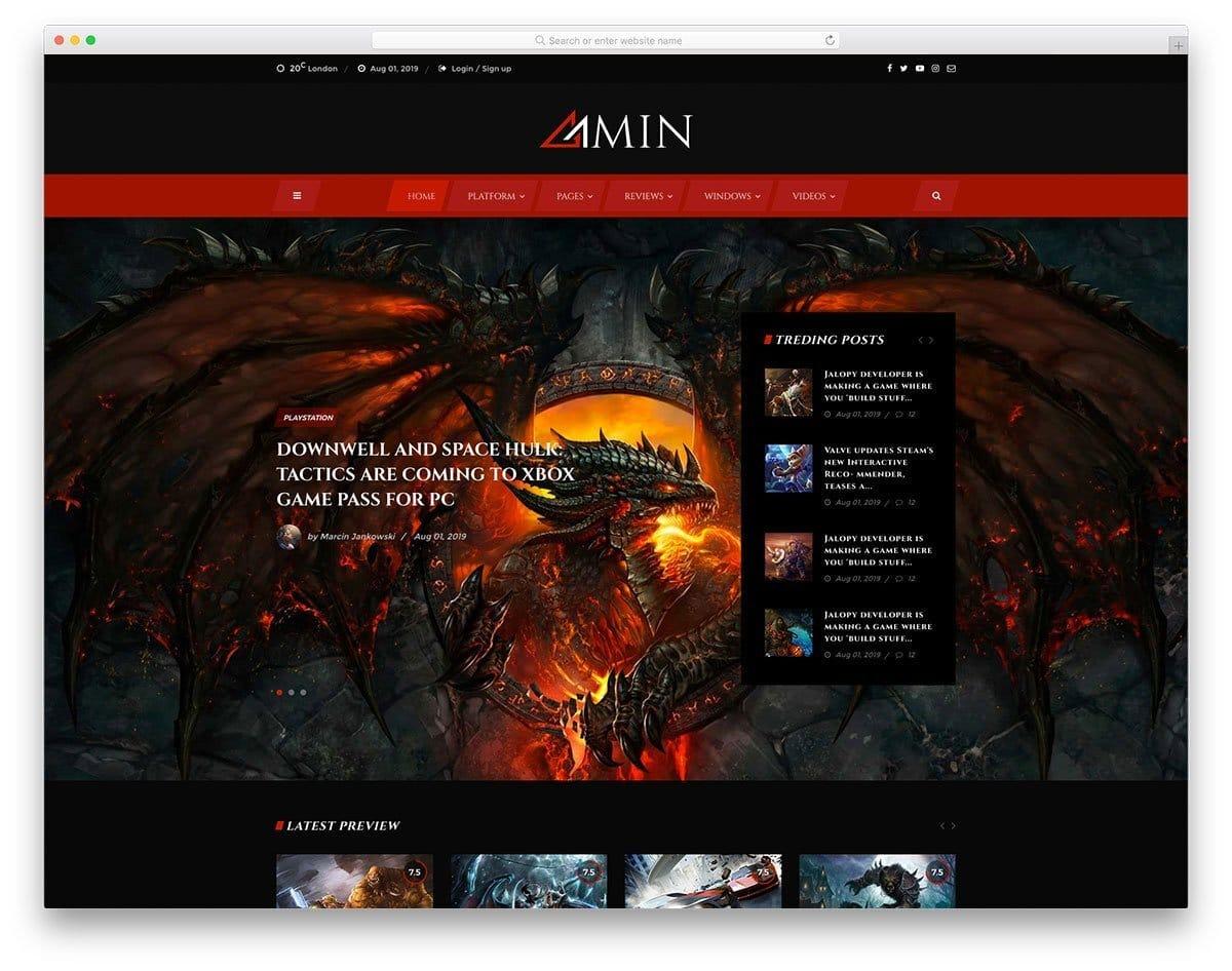 gaming magazine website templates