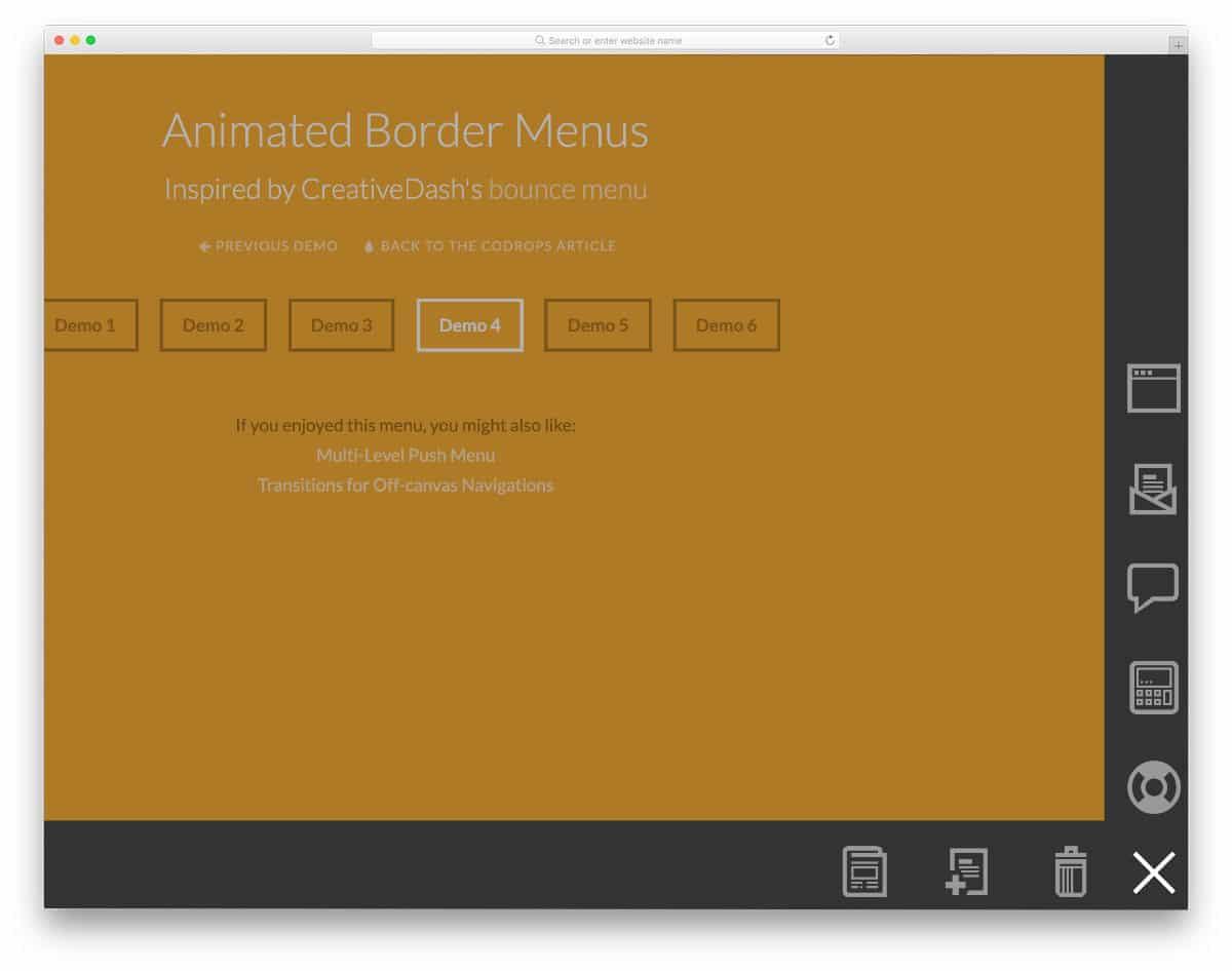 border navigation menu concept