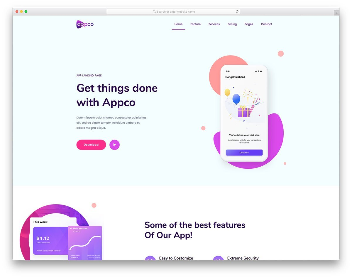 web design inspiration for app based companies