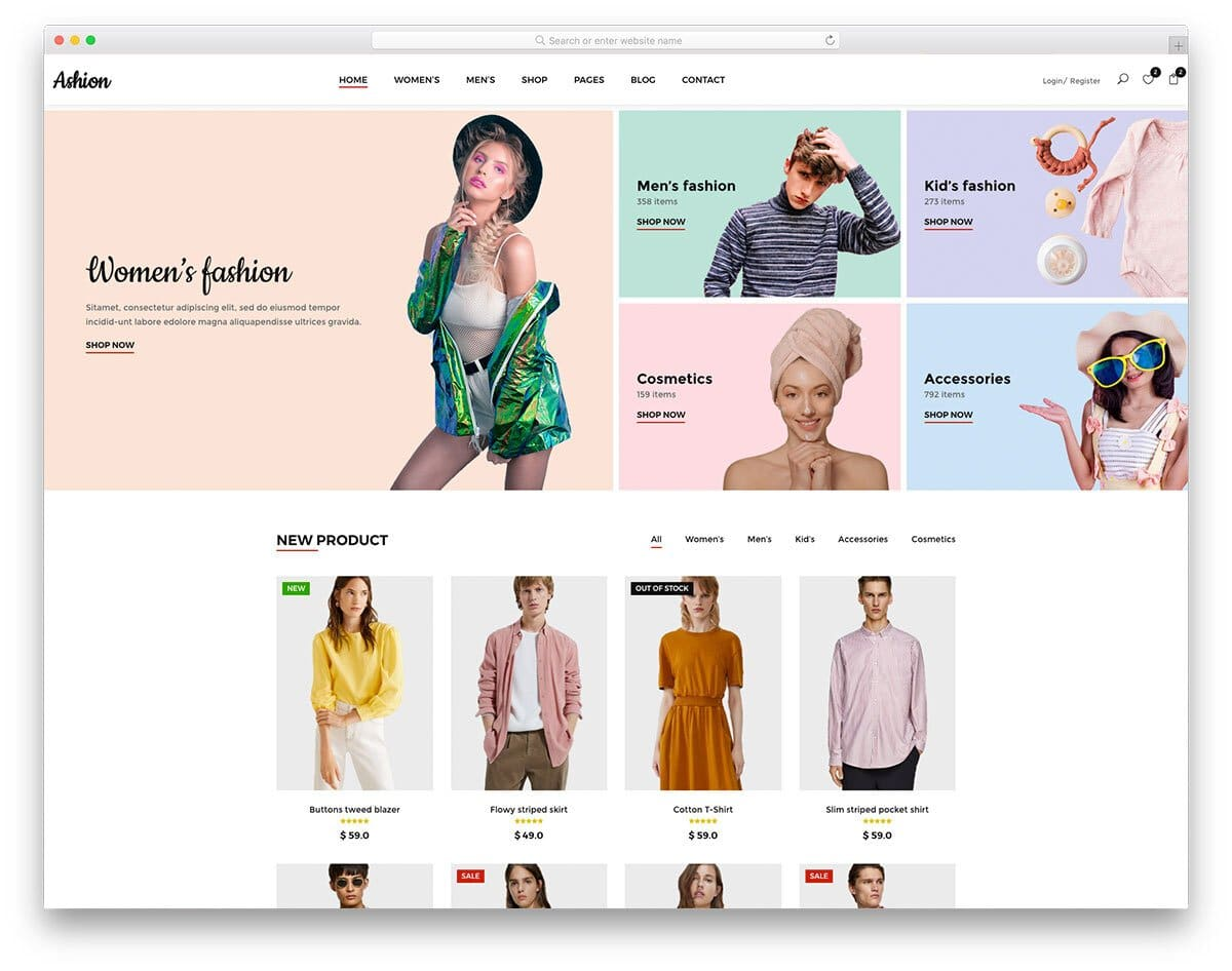 interactive free shopping website templates