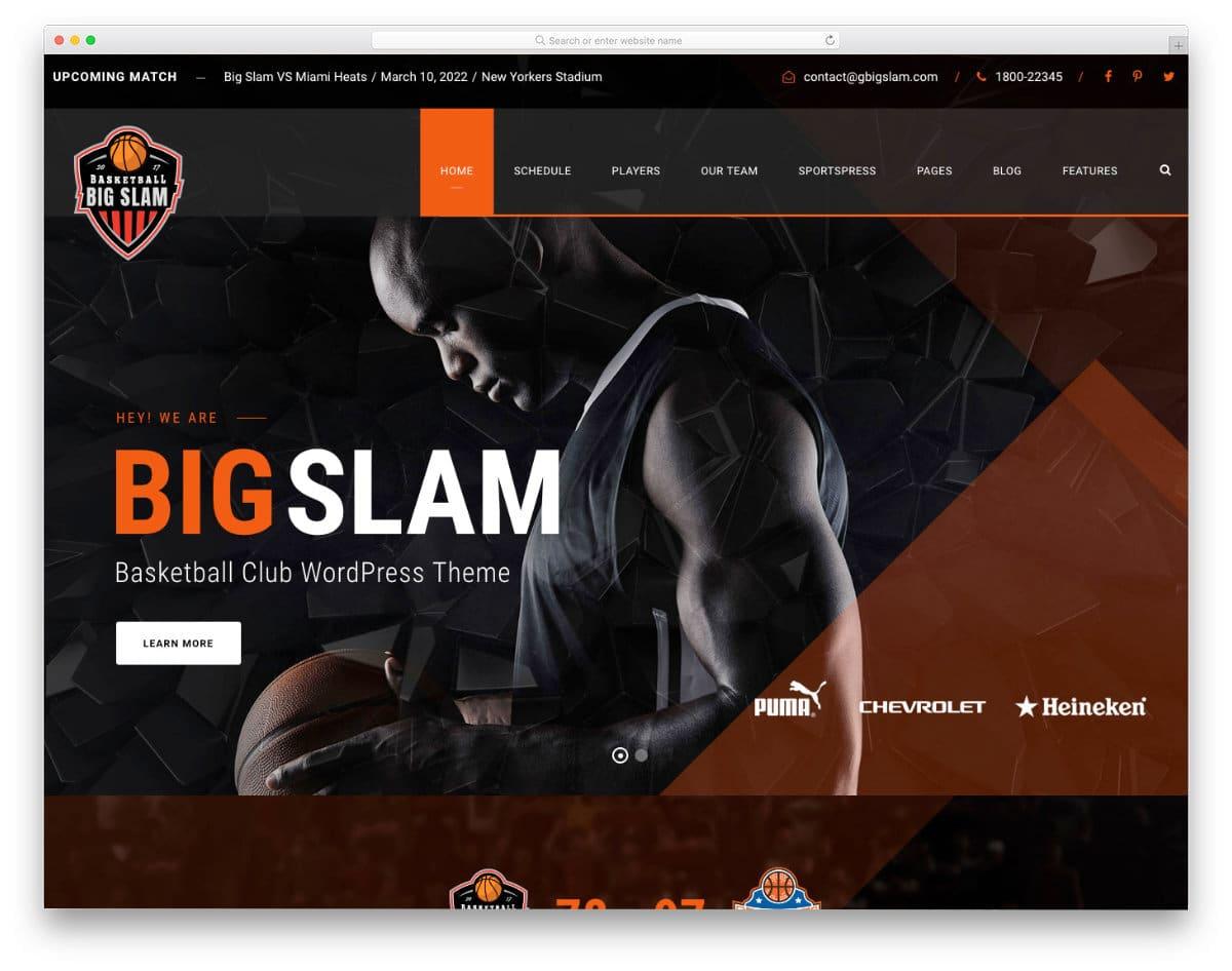 sports clube wordpress theme