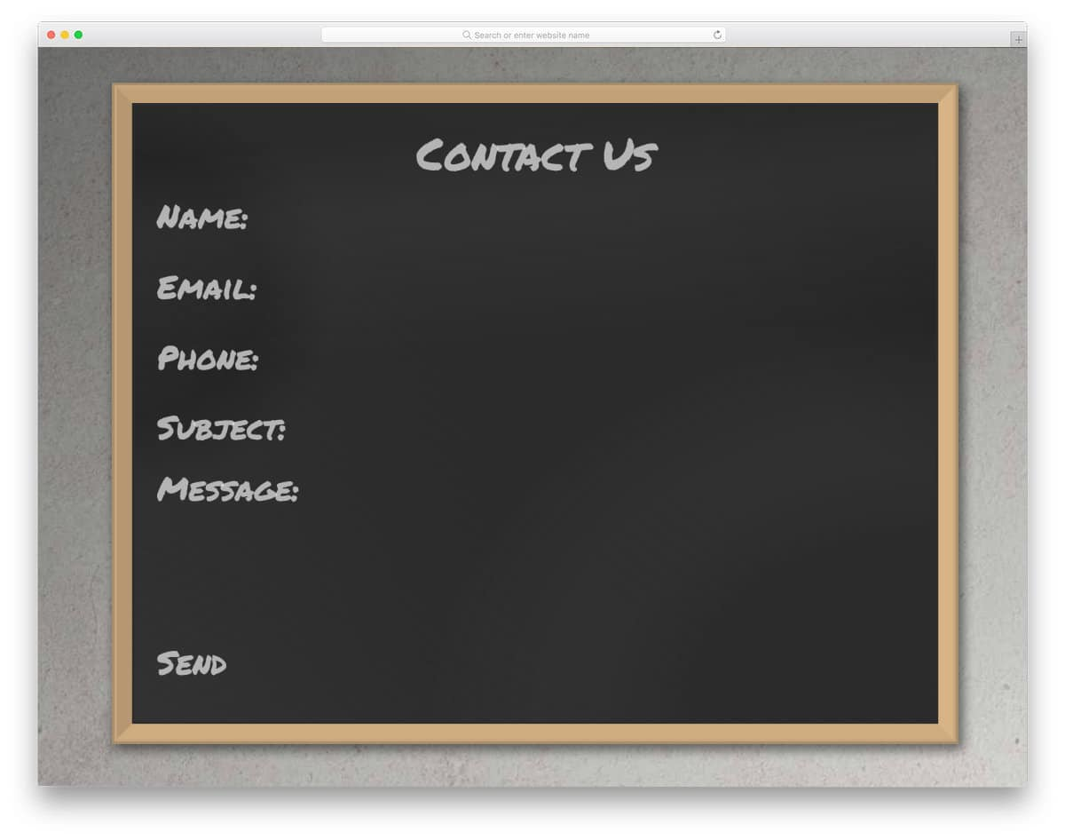 blackboard concept bootstrap contact form