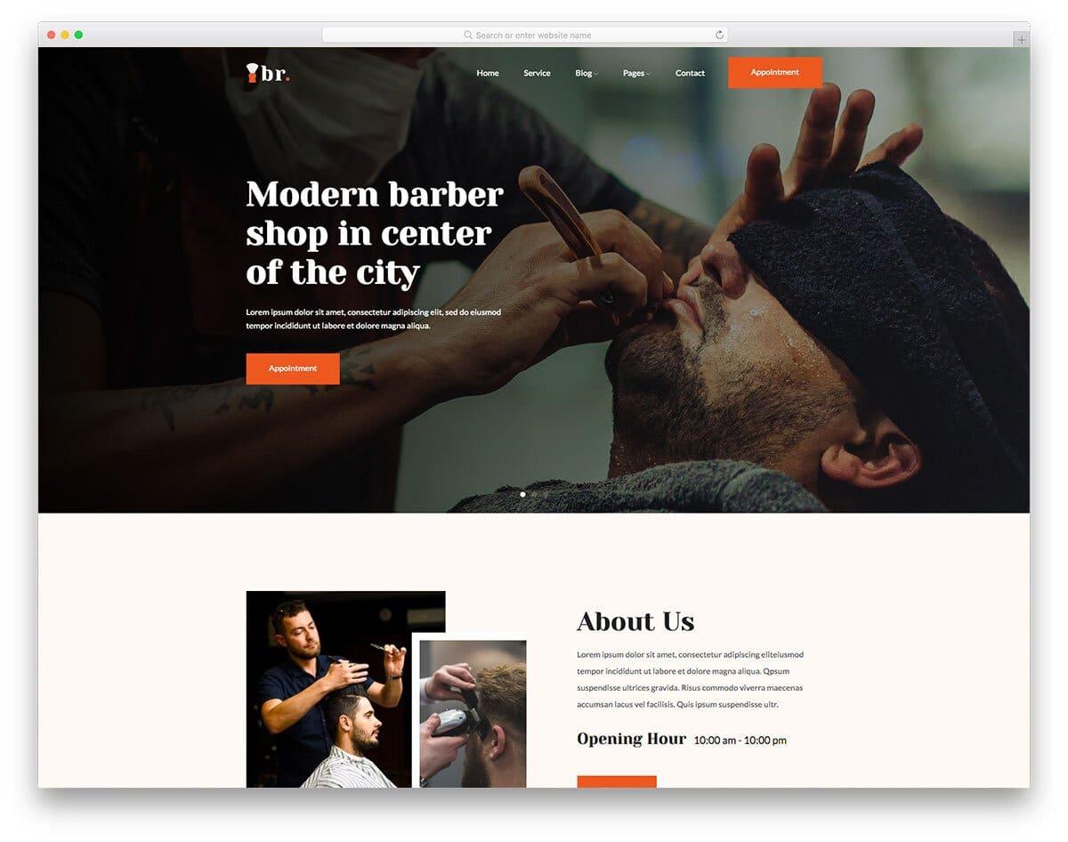 modern hair salon website template