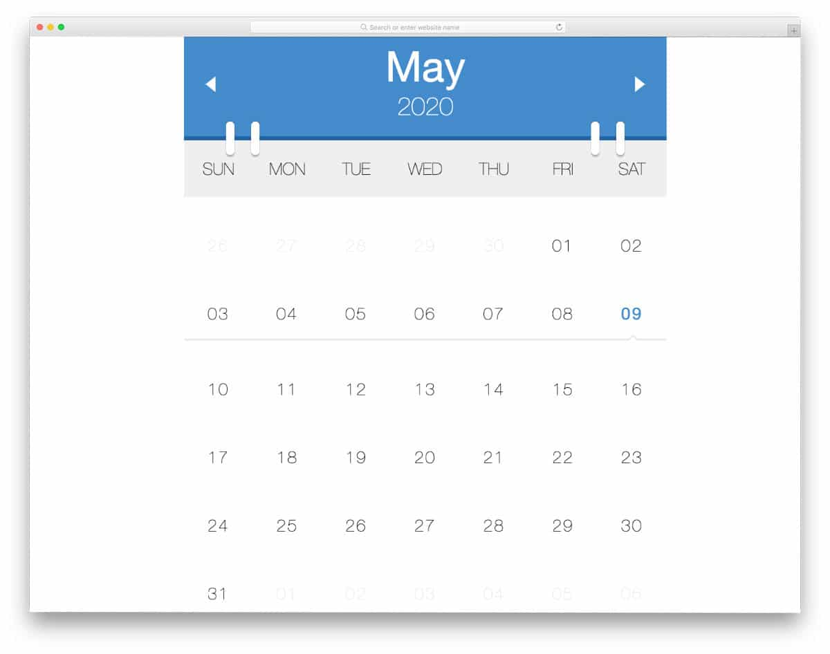 clean easy to interact calendar