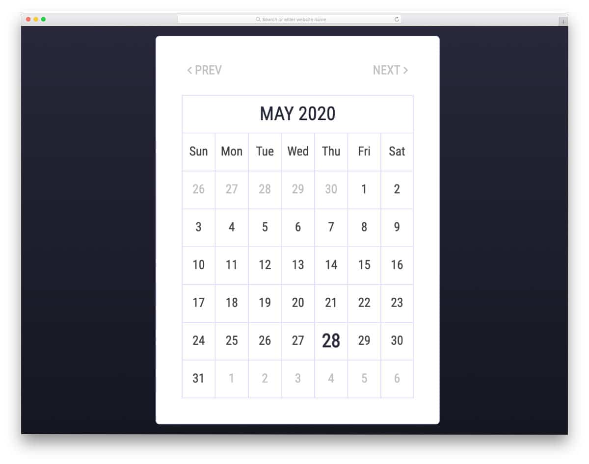calendar with all basic elements