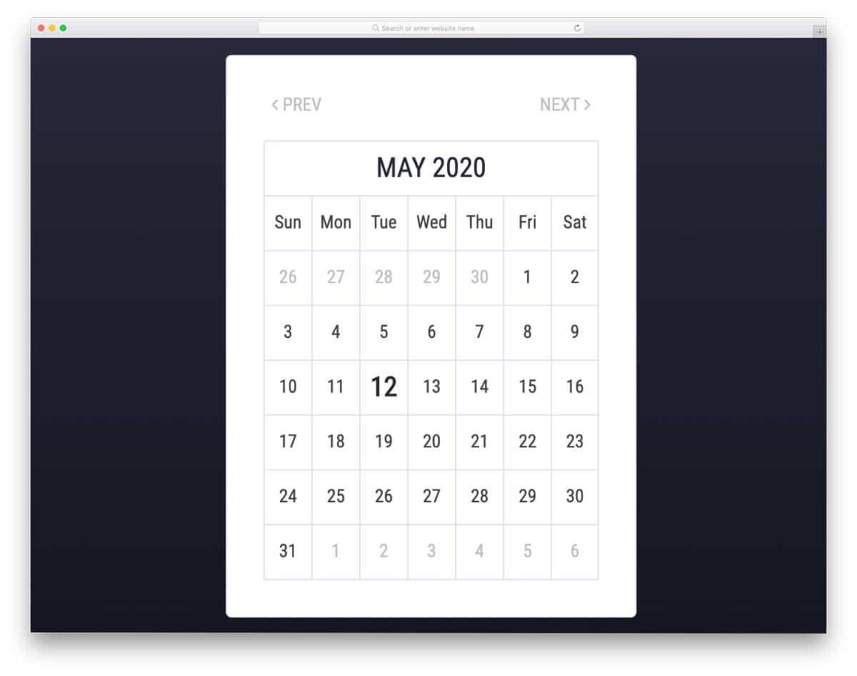 simple basic calendar