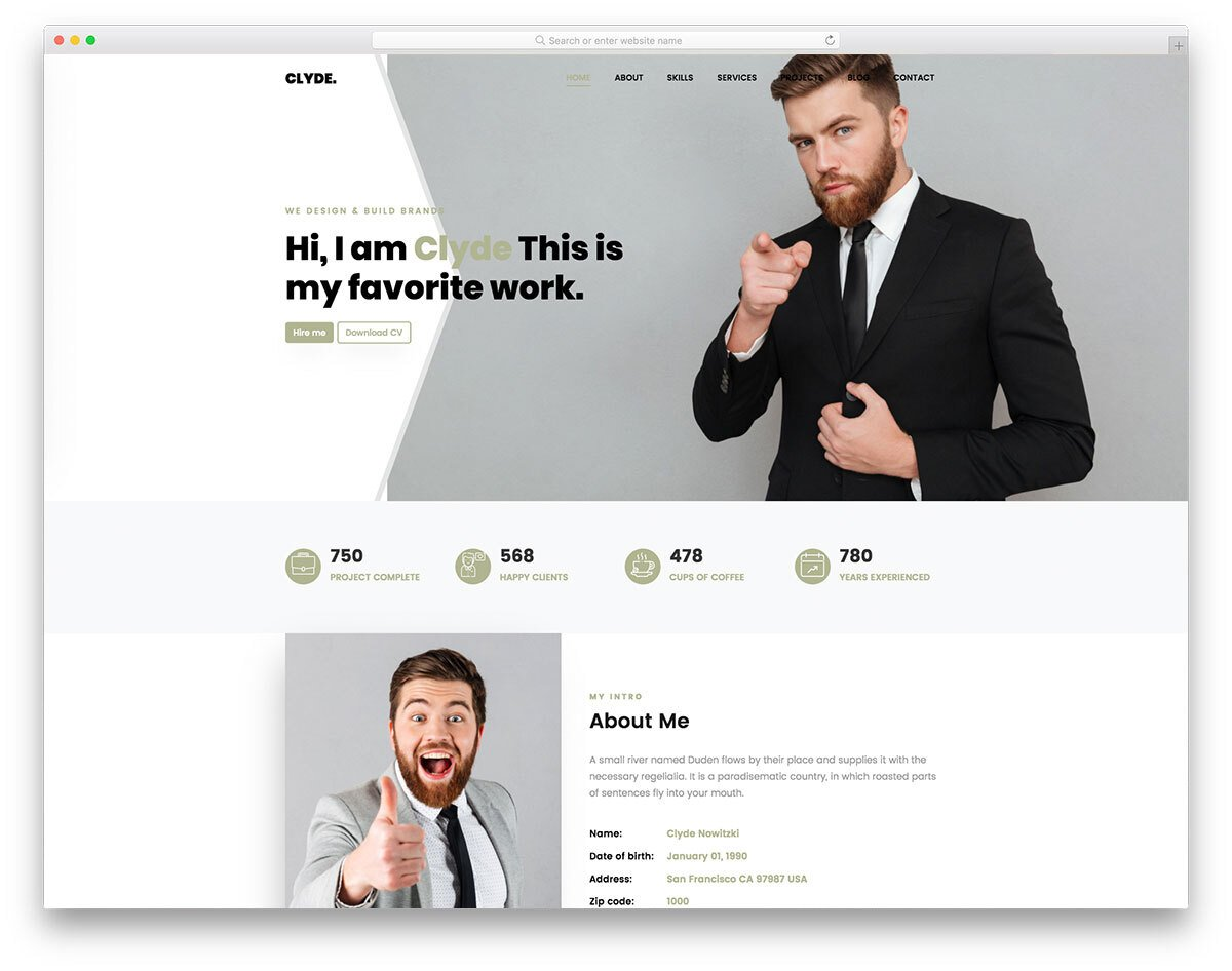 single-page personal website template