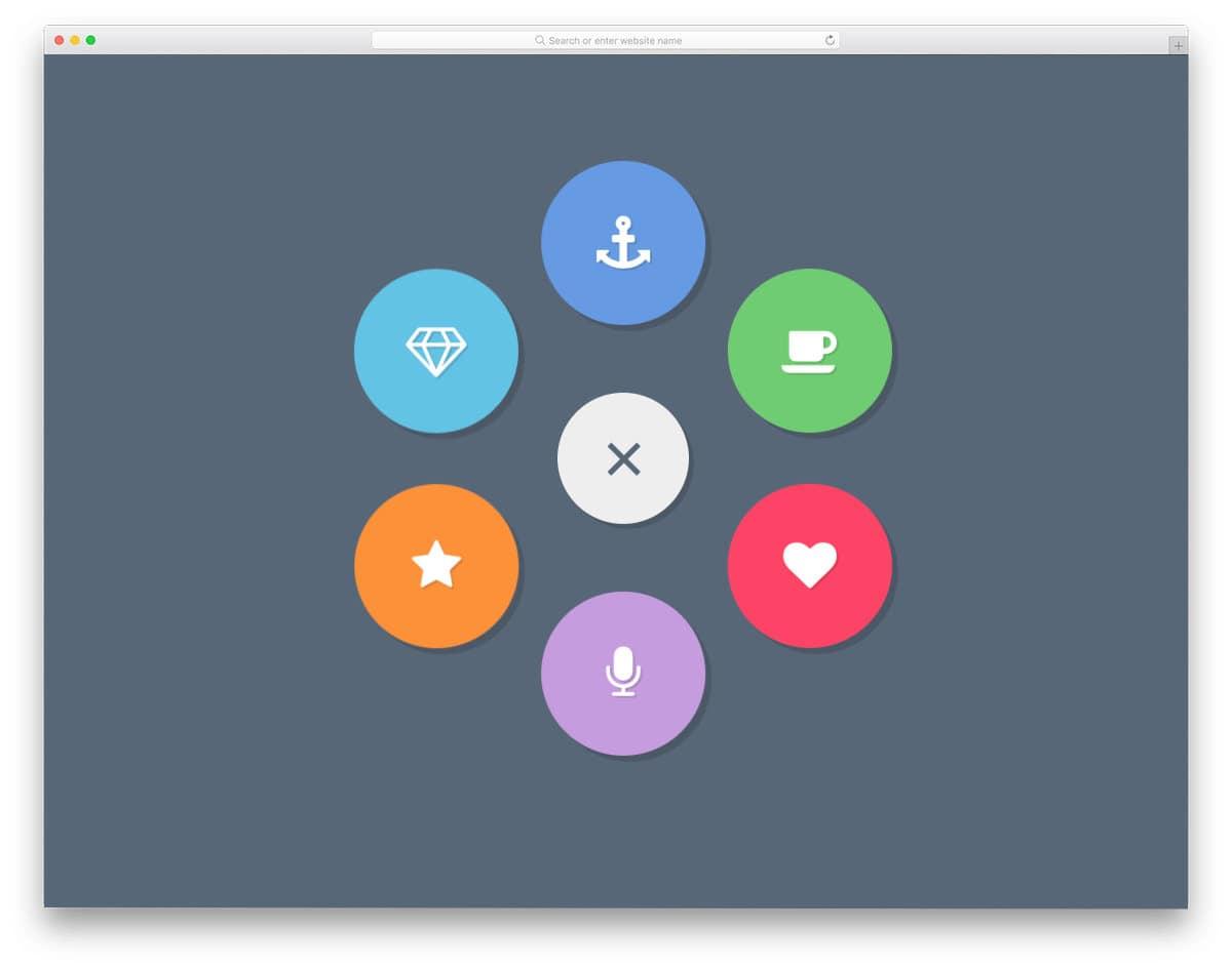 popup menu concept