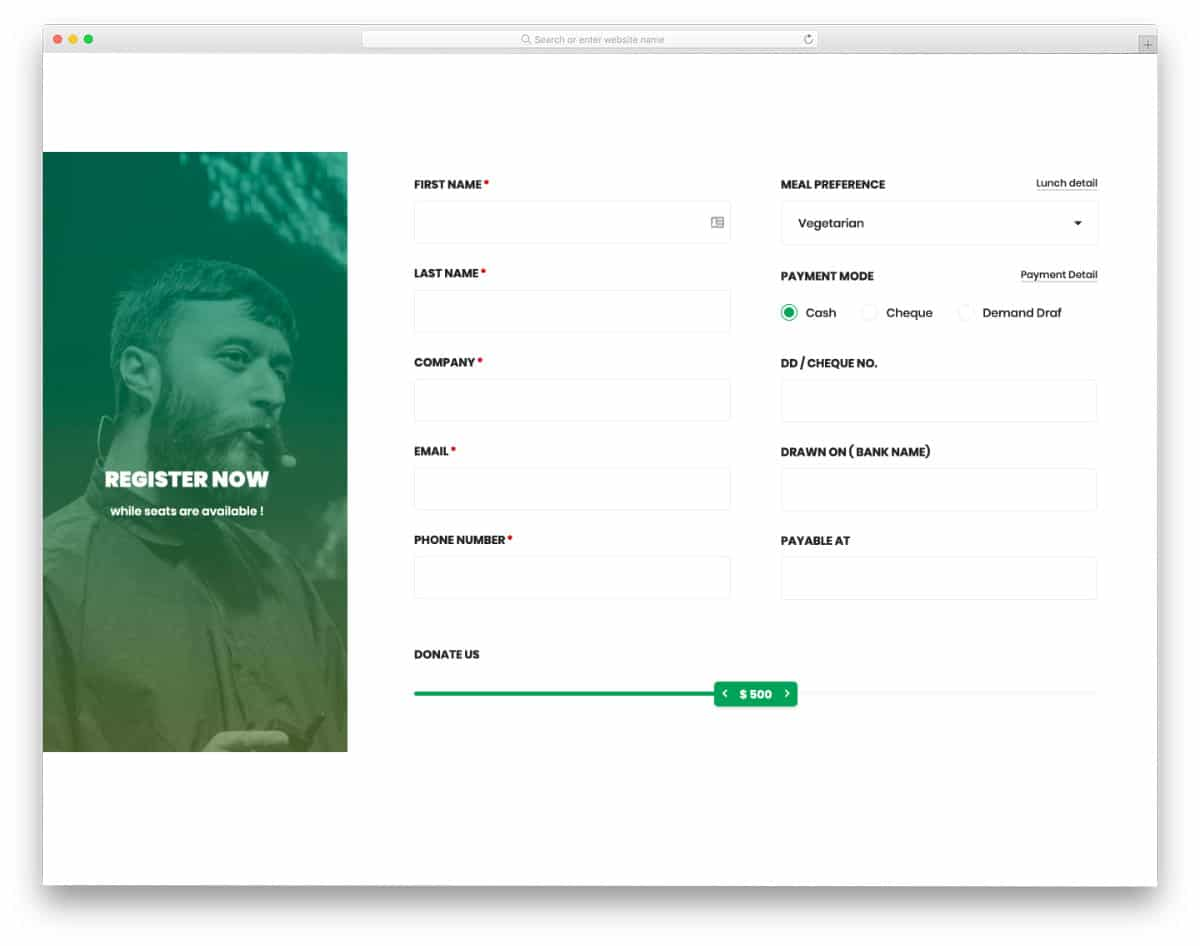 registration form with useful elements
