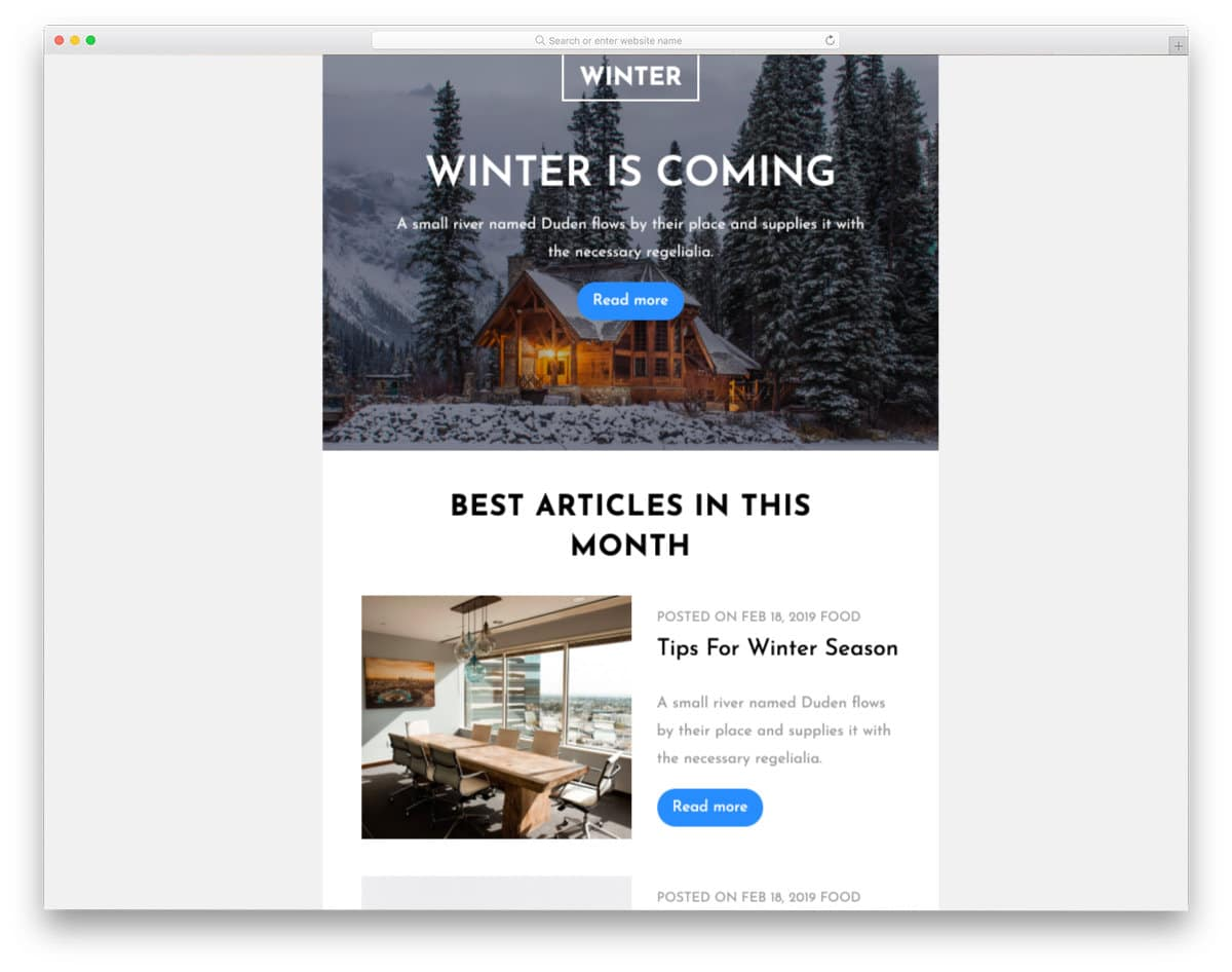 blog newsletter email template
