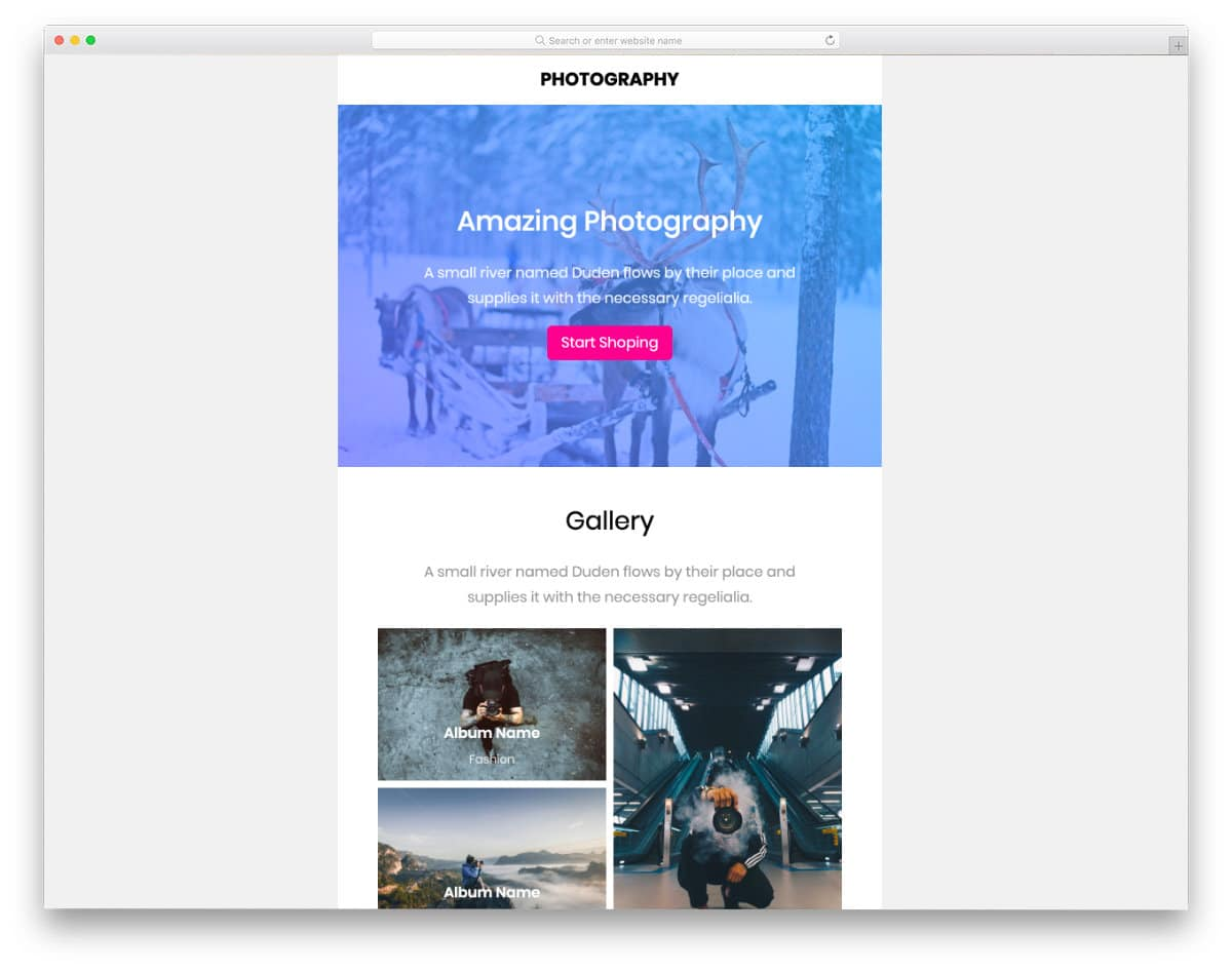 photography email templates