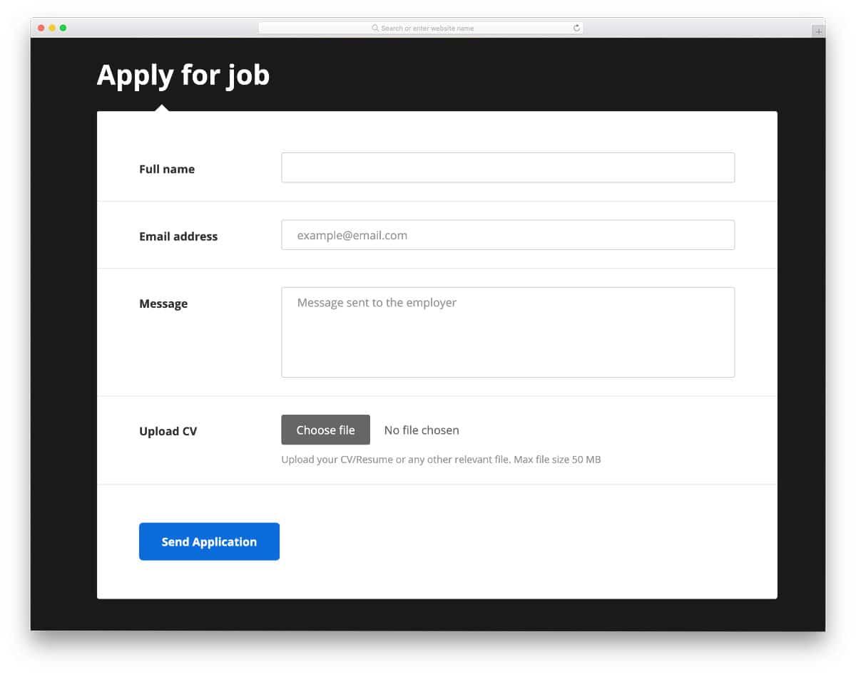 job registration form
