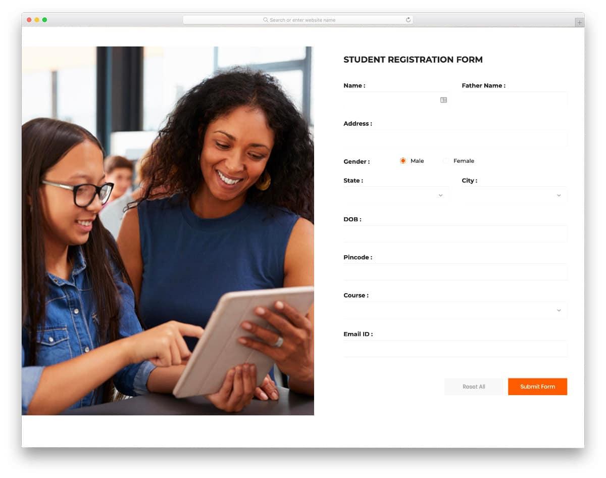 bootstrap registration form for students