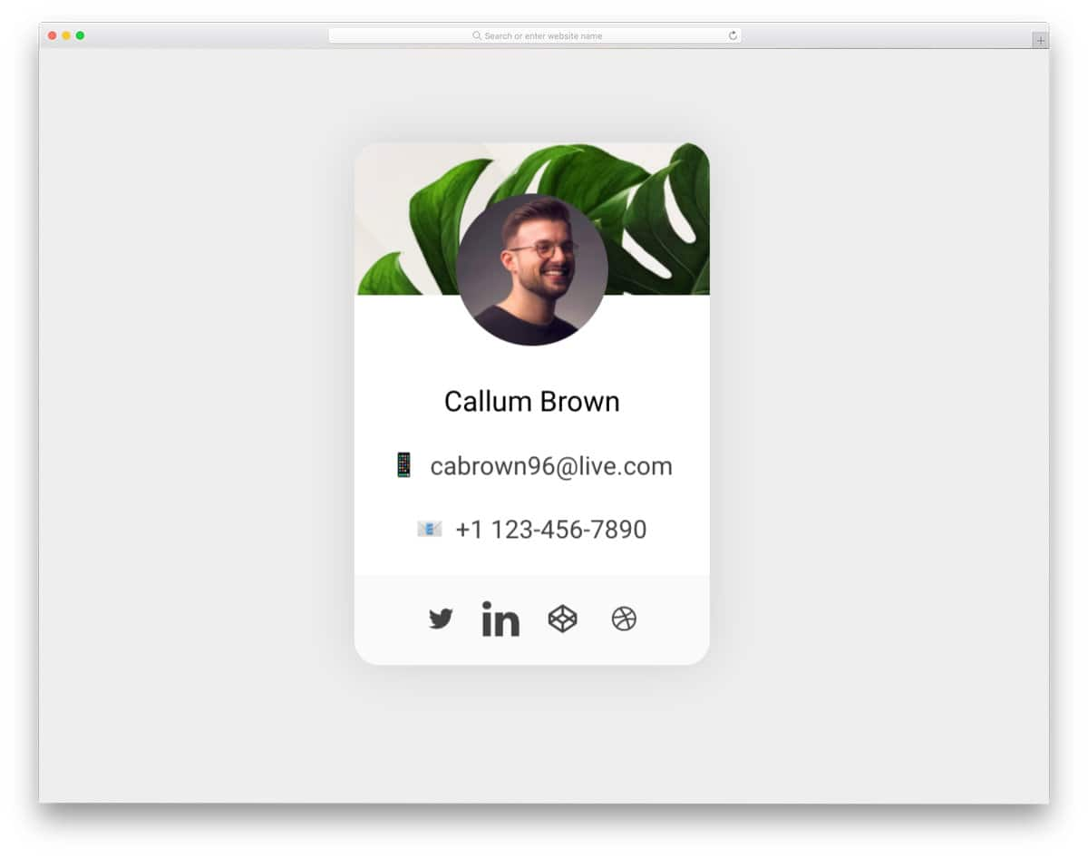 compact profile card