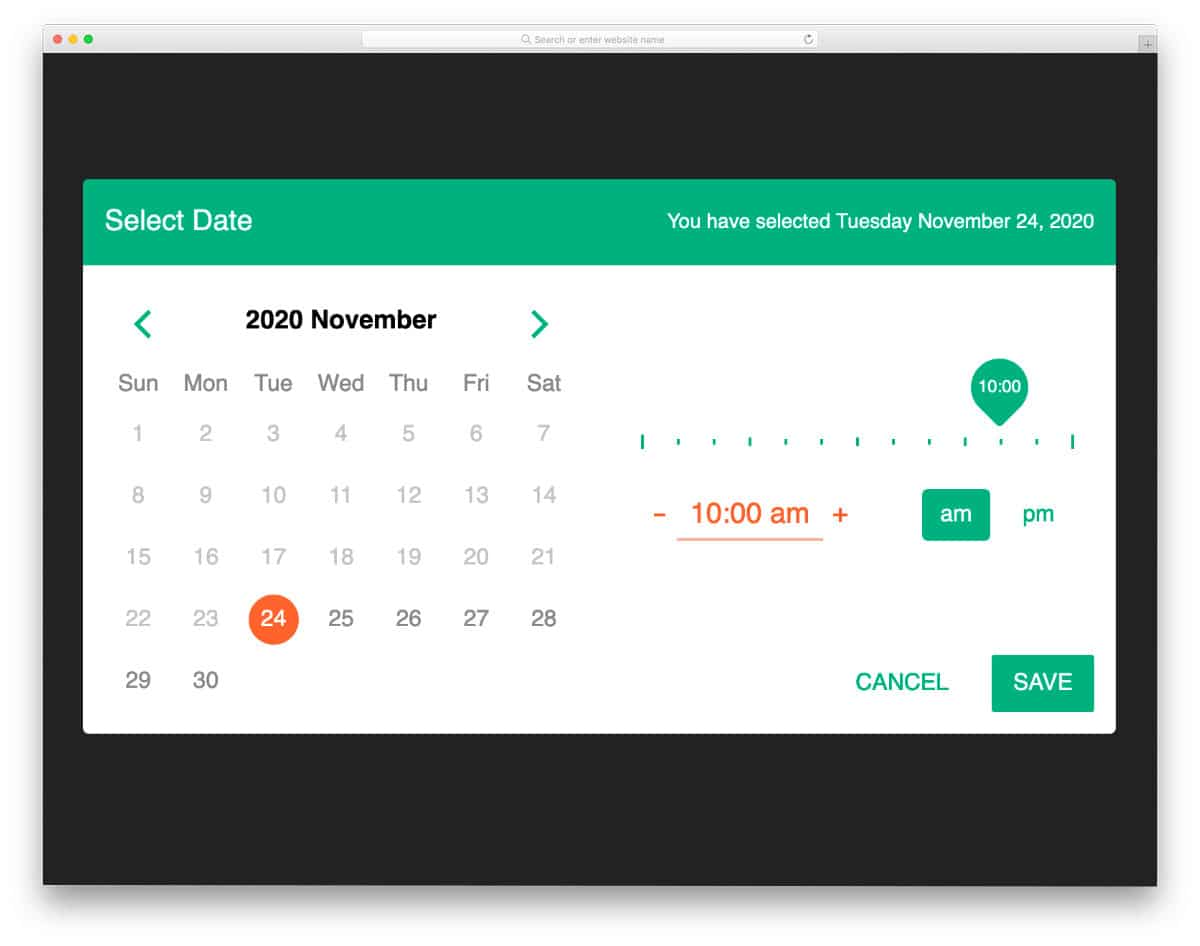 CSS calendar with time picking option