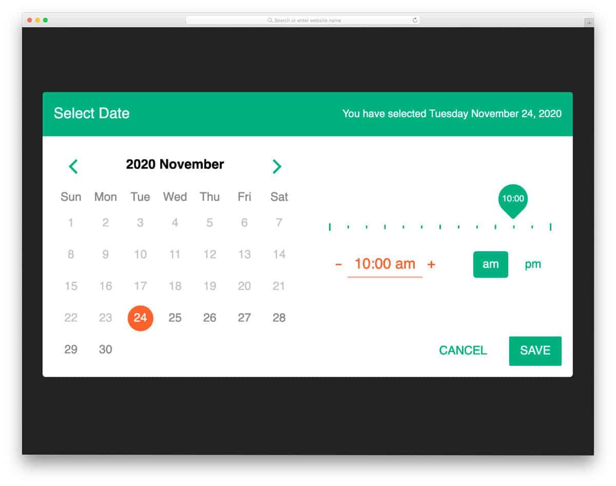Bootstrap Datepicker Calendar Example