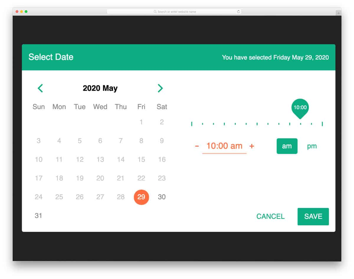 datepicker with multiple input options