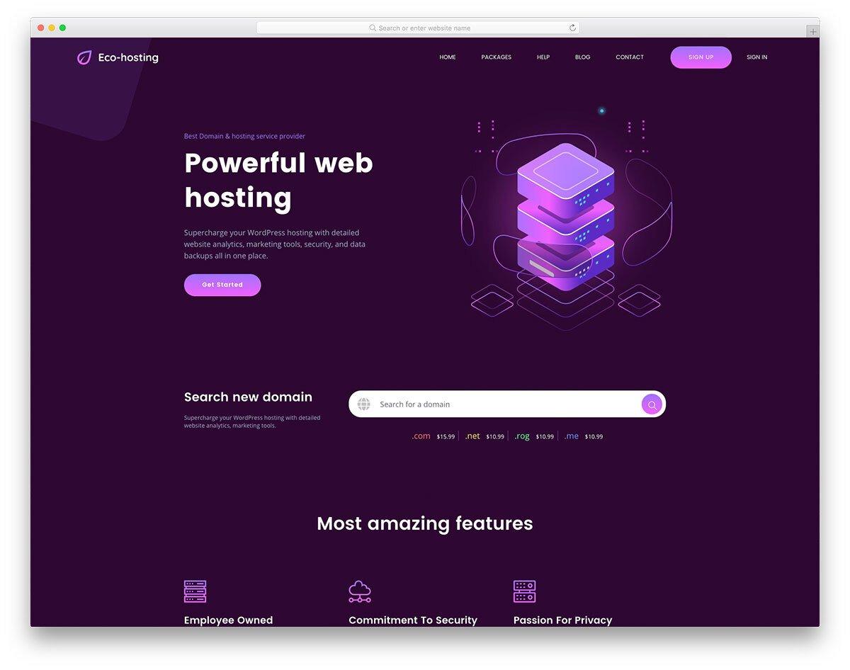 creative hosting website template